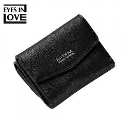 Women Short Wallet PU Leather Coin Purse Fashion Ladies Wallets Simple Mini Wallets black one size