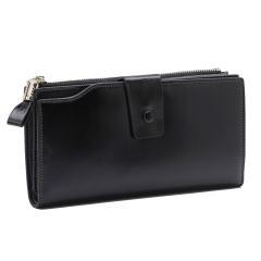 Genuine Leather Women Wallet Female Long Clutch Lady Wallet Rfid Money Bag Coin Purse Clutch Purse black one size