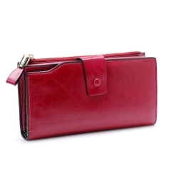 Genuine Leather Women Wallet Female Long Clutch Lady Wallet Rfid Money Bag Coin Purse Clutch Purse wine red one size