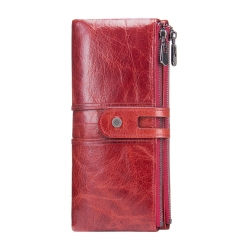 Women Clutch Fashion Wallets Cowhide Genuine Leather Female Long Wallet  Zipper Purse Coin Purse red one size