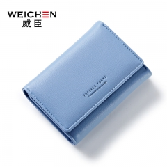 WEICHEN Women Clutch Fashion Wallets PU Leather Female Short Wallet  Zipper Purse Coin Purse blue one size
