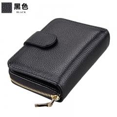 Men Genuine Leather Wallet Multifunction Credit Card Cowhide Women Slim Zipper ID Card Holder Purse black one size