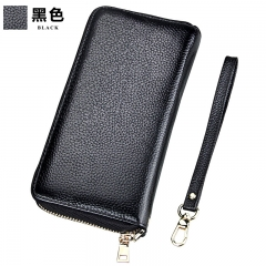 Women Long Clutch Wallet Large Capacity Wallets Lady Genuine Leather Purse Phone Pocket Card Holder black one size