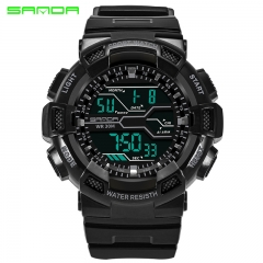 SANDA Men Watches Fashion Casual Watch Sports Waterproof Men's Watches Luminous Calendar Alarm Clock black one size