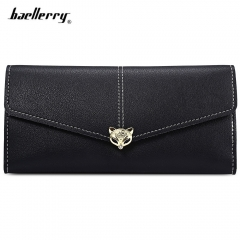 Baellerry Envelope Clutch Women Long Wallet PU Leather Purse Female Hasp Card Coin Holder black one size
