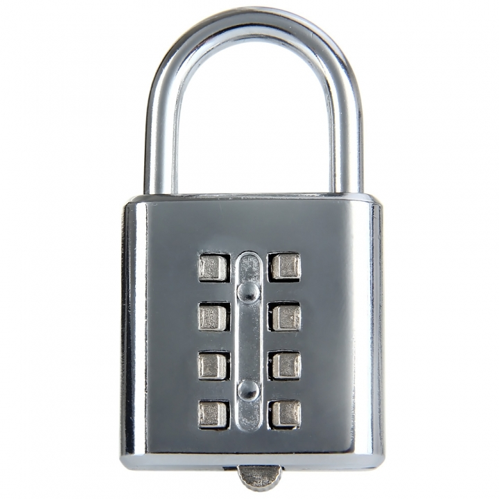 8 Button Resettable Combination Padlock for Travel Luggage Suitcase Code Lock silver one size