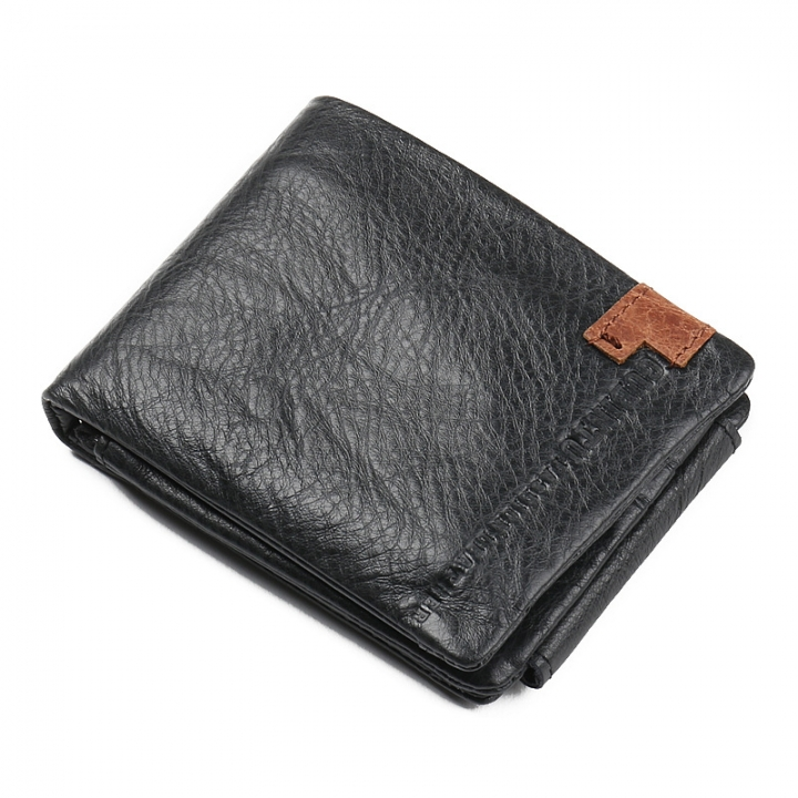 Men Short Genuine Leather Wallet Cowhide Wallets Coin Purse Retro Male Wallet black horizontal