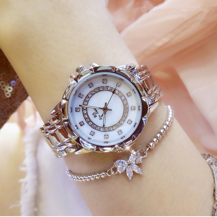 BS bee sister Casual Ladies Watch Women Diamond Clock Women Watches Brand Luxury Quartz-Watch silver