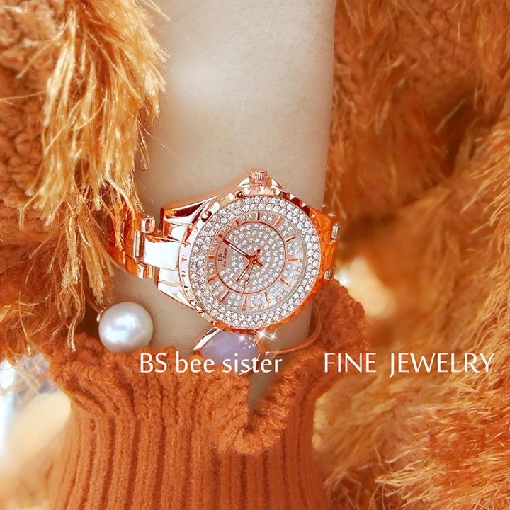 BS Bee Sister Brand Women Watch Full Diamond Female Clock Big Round Dial Ladies Quartz Watches rose gold