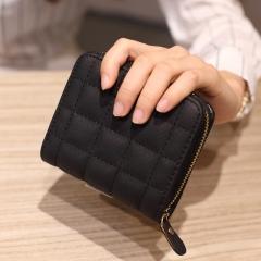 Fashion Women Girls Wallet Card Holder High Capacity Zipper Coin Purse Cute Purse Students Money Bag black one size