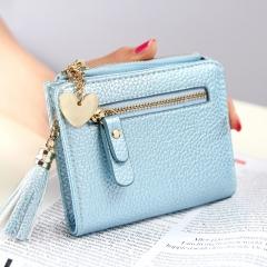 Fashion Women Purse Card Holder Women Small Wallet Tassel Zipper Clutch Coin Purse Female Bag blue one size