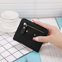Women PU Leather Wallet Girl Hasp Small Wallets Purse Mini bag Fashion Female Purse Coin Card Holder black one size