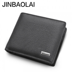 Genuine Leather Wallet Fashion Short Men Wallet Casual Male Wallets Coin Pocket Purses Male Wallets black one size