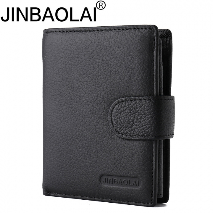 Multifunction Genuine Leather Wallet Men Coin Pocket Business Wallets Hasp Male Wallets Coin Purse black vertical
