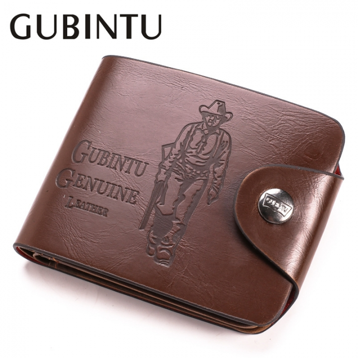 GUBINTU Short Wallets Men Stylish Vintage Hunter Print Purse Leather Men Wallets cowboy without hole