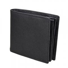 Genuine Leather Men Wallets Crazy Horse Leather Vintage Short Purse Male Cowhide Coin Wallet black horizontal