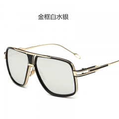 Oversized Square Sunglasses Men Retro Sun Glasses Alloy for Women Vintage Glasses silver one size