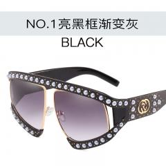 Ladies Elegant Luxury Sunglasses Women Europe Big Frame Fashion Sun Glasses C1 one size