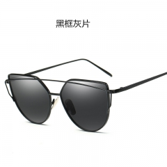 Fashion Brand Design Women Cat Eye Sunglasses Flat Mirror Sunglasses for Female c1 one size