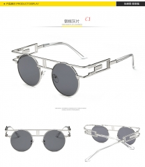 Round Sunglasses Women Brand Designer Metal Hollow Mirrored Sun glasses For  Female c1 one size