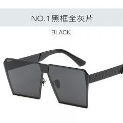 Fashion Flat lens Sun Glasses Mirror Women Sunglasses Men Hip Hop Oversized Lady Eyeglasses Male c1 one size