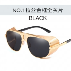 Fashion Cool Shield Punk Style Side Mesh Sunglasses Vintage Brand Design Sunglasses C1 one size