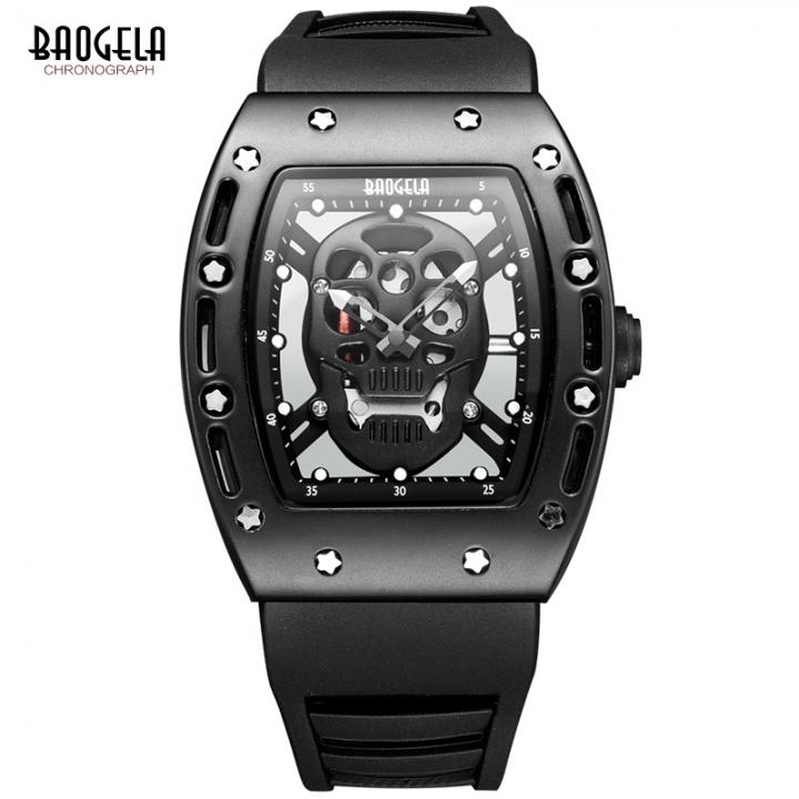 Baogela Pirate Skull Style Quartz Men Watches Military Silicone Sports Watch black one size