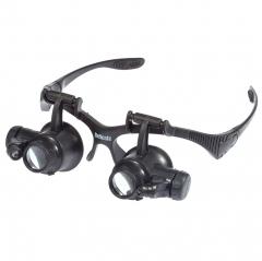 9892GJ 10X 15X 20X 25X Watch Repair Magnifier with 2 LED Lights black