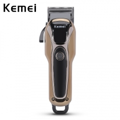 Kemei KM - 1990 Rechargeable Electric Adjustable Hair Clipper Haircut Trimmer with Comb black gold eu plug