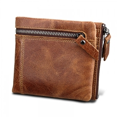 Men Genuine Leather Wallet Crazy Horse Cowhide Zipper Male Short Coin Purse brown one size
