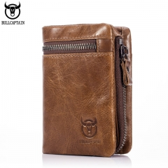 Short Trifold Hasp Zipper Wallet MEN Cow Leather Wallet Coin Pocket Money Purse Bag Card Holder brown one size