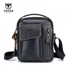 First Layer Cowhide Men Messenger Bag Business Casual Handbag Large Capacity Shoulder Crossbody Bags black one size