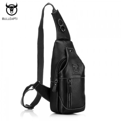 Fashion Genuine Leather Crossbody Bags Men Casual Messenger Bag Small Male Shoulder Bag black one size