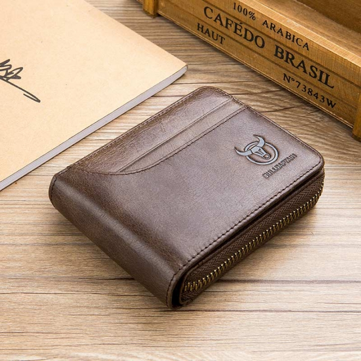 Men Wallet Cowhide Coin Purse Male Short Wallet Clutch Genuine Leather Wallets Card Bag brown one size