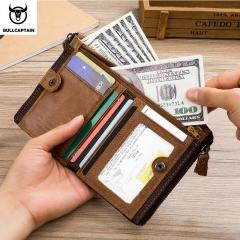 Vintage Genuine Leather Men Wallets Cowhide Zipper Short Money Wallet Hasp Card Holder Coin Purse brown one size
