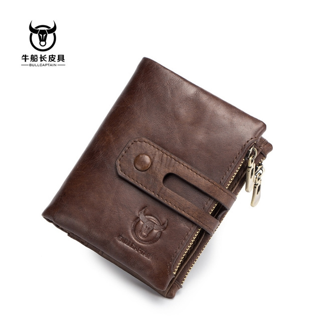Genuine Leather Men Wallet Credit Business Card Holders Double Zipper Cowhide Leather Wallet Purse brown one size