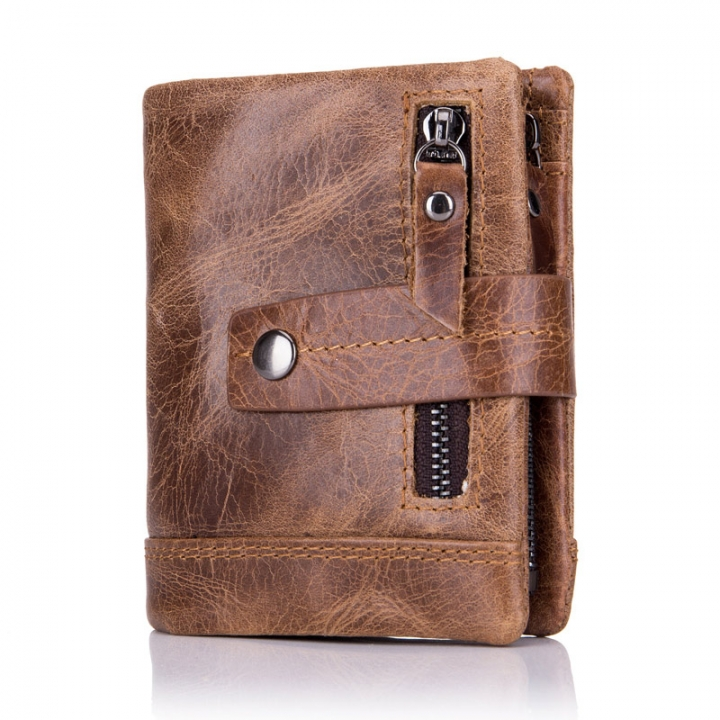 Men Cowhide Wallet Fashion Coin Pocket Genuine Leather Purse Male Card Holder brown one size