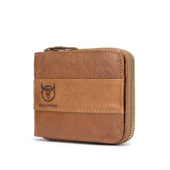 Male Genuine Leather Wallet Fashion Men Cowhide Coin Purse Card bag brown one size