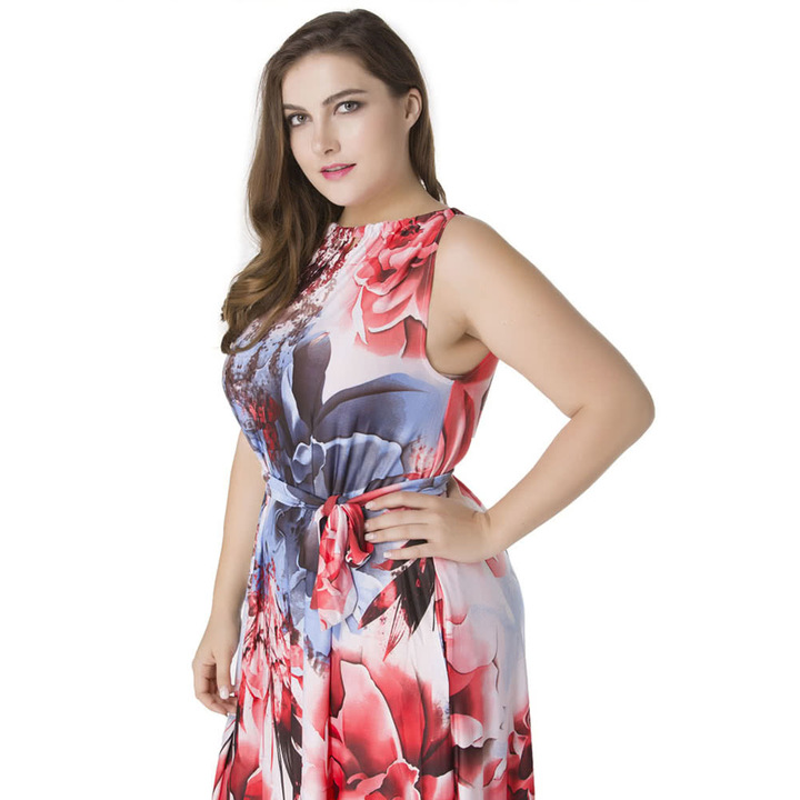 ddbf1c6df4 Floral Print Maxi Dress Halter Neck Sleeveless Summer Plus Size Swing Dress  Red l red