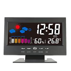 Multifunctional Digital Temperature Humidity Meter Clock Thermometer Hygrometer Calendar Temperature black one size