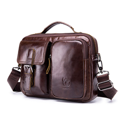 Genuine Leather Men Crossbody Briefcase Messenger Casual Business Shoulder Bag coffee one size