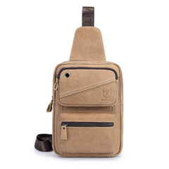 Men Chest Bag Clasp Genuine Leather Messenger Crossbody Fashion Cellphone pocket light brown one size