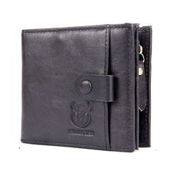 Genuine Leather Men Wallet Small Zipper Male Short Coin Purse Card Holder black one size