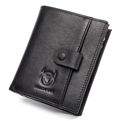 Fashion Genuine Leather Men Wallet Vertical Type Male Card Coin Pocket Purse black one size