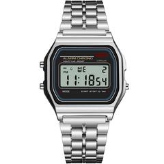 Wen Fashion Digital Watches Vintage LED Digital Sport Waterproof Women Wristwatches silver one size