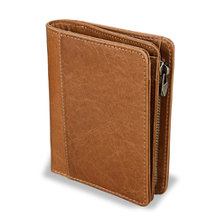 Short Vertical Men Wallet Genuine Leather Purses Casual Fashion Male Coin Pocket brown one size