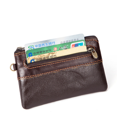Genuine Leather Mini Wallet Men Coin Purse Zipper Short Male Women Card Holder coffee one size