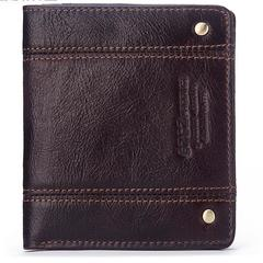 Men Thin Purse Genuine Leather Wallet Male Card Holder Casual Cowhide Short Mini Purses coffee one size