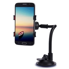 Universal 360 Degrees Rotation Long Arm Car Windshield Holder Mount Bracket Stand for Cell Phones black one size
