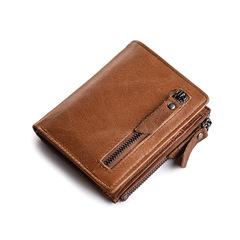 Vintage Men Genuine Leather Wallet Zipper Coin Pocket Card Holders Short Purse brown one size